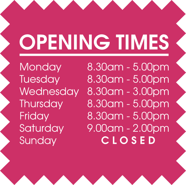 Opening Times Pearls Drycleaners
