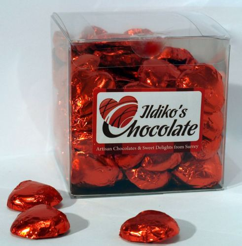 Red Foil Wrapped Milk Chocolate Hearts Big Box
