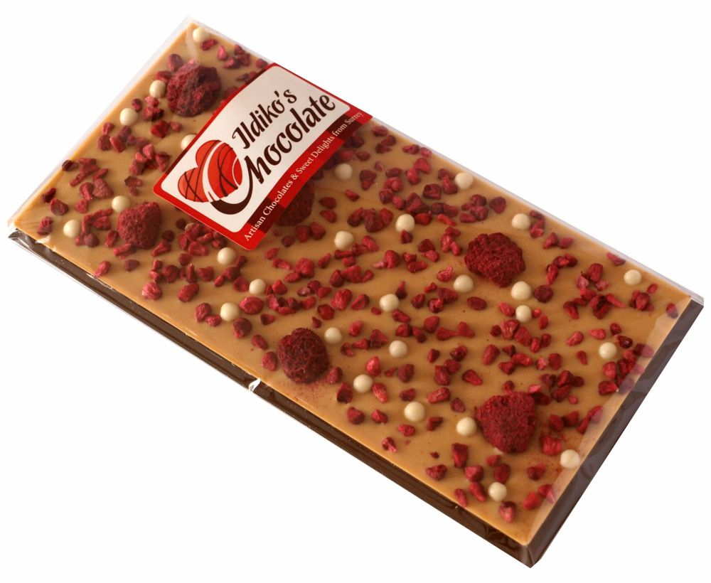 <!--023-->Blonde; caramelized white chocolate with Raspberries and white ch