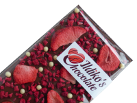 <!--001-->Finest Belgian Milk Chocolate Slab with Strawberry, Raspberry and White Chocolate - Biscuit Pearls