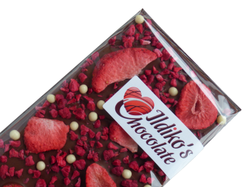 Finest Belgian Milk Chocolate Slab with Strawberry, Raspberry and White Chocolate - Biscuit Pearls
