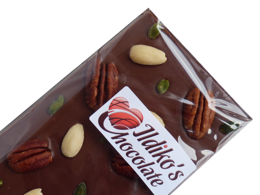 <!--002-->Finest Belgian Milk Chocolate Slab with pistachios, pecans and al