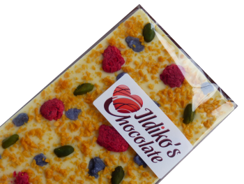 White Chocolate Slab with Raspberries, Passionfruit, pistachios, violet petals