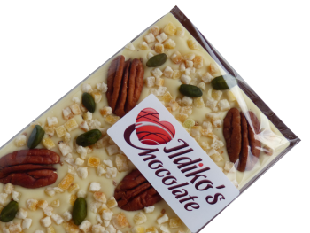 White Chocolate Slab with Pecans, Pistachios, Candied Orange Peels, Cardamom  Powder
