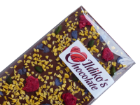 <!--005-->Finest Belgian Milk Chocolate Slab with  raspberry, passionfruit, pistachio and crystallised violet petals