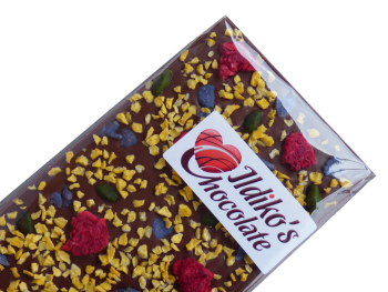 Finest Belgian Milk Chocolate Slab with  raspberry, passionfruit, pistachio and crystallised violet petals