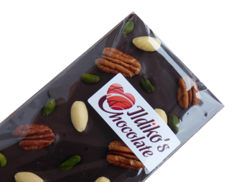 Extra Dark Chocolate Slab (Cocoa solids 80.1 %) with Pistachios, Blanched almonds and Pecans