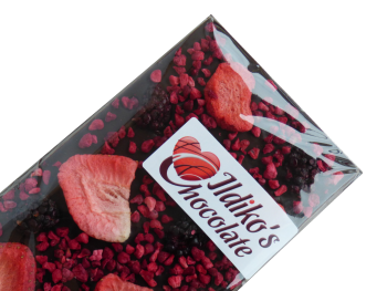 Extra Dark Chocolate Slab (Cocoa solids 80.1 %) with Strawberries, Raspberries & Blackberries
