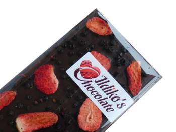 Extra Dark Chocolate Slab (Cocoa solids 80.1 %) with strawberry, elderberry