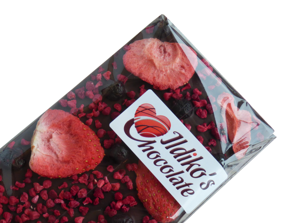 <!--018-->Dark Chocolate Slab (60% cocoa solids) with strawberry, raspberry