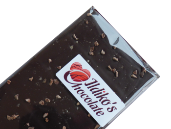 Extremley Dark Chocolate (86% Cocoa Solids and No Added Sugar) with organic coco nibs, Maldon Smoked Sea Salt