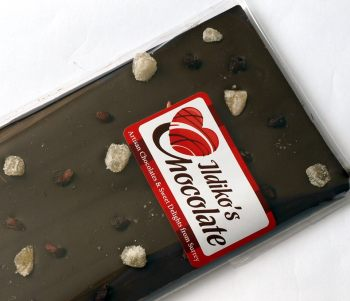 Dark Chocolate Slab (65% cocoa solids) with Ginger, Pomegranates & Maldon Smoked Sea Salt