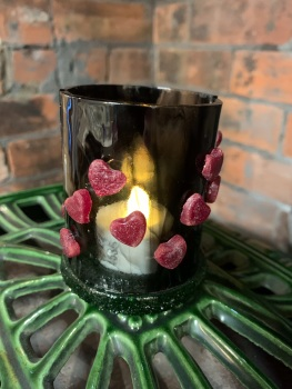 Fused Glass Tealight holder with hearts