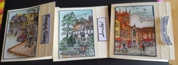 Trio of hand painted small cards - cottages and scenes