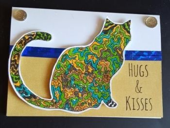 Hugs and Kisses Zentangle cat card