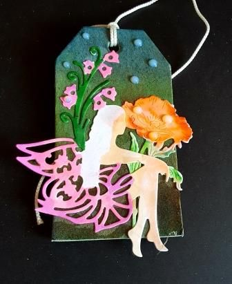 Fairy and flowers gift tag/home decor