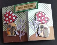 Happy birthday toadstools gatefold C6 card
