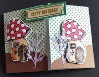 Happy birthday toadstools gatefold C6 card