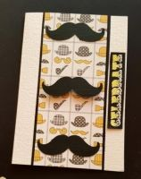 Celebrate! Vintage gents moustaches C6 white card