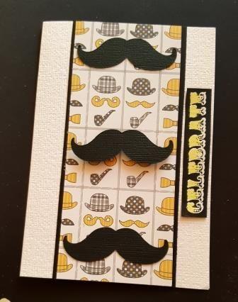 Celebrate! Vintage gents moustaches C6 white card