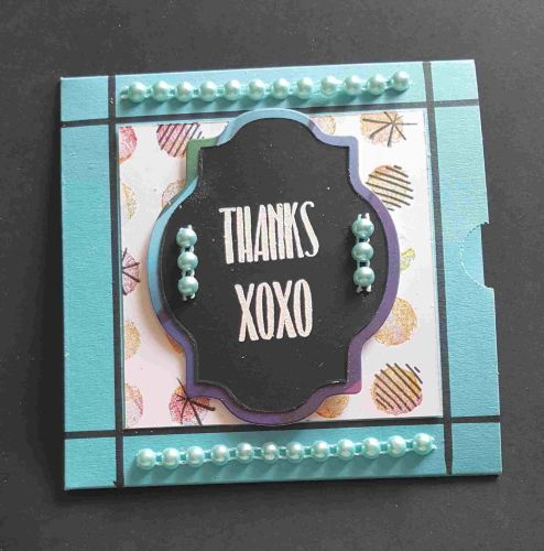 Thanks XOXO gift CD sleeve with bling