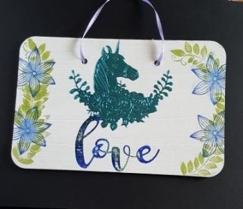 Love... Unicorn and flowers wall hanging