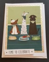 Time to Celebrate trio of pooches 7x5in white card