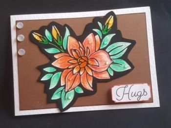 Hugs..for your friendship flower 7x5in white card