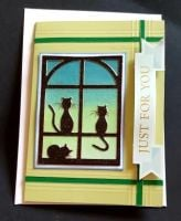 Just for you Cats in window C6 card with envelope