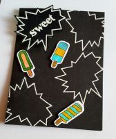 Sweet ice lollies (popsicles) black C6 card with black envelope
