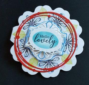 Hello Lovely... flowers on flower shaped 4in white card
