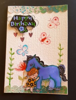 Happy birthday - Unicorn, girl, butterflies and flowers C6 card