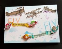 Flying by to say Congratulations vintage planes and skydivers 7x5in card