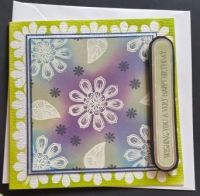 Wishing you a Happy Birthday flowers 6in square card