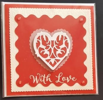 With Love hearts on wavy background 5in red card