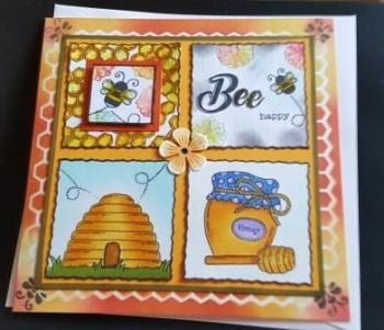 Bee Happy beehive, Bees and Honey hand coloured 7in square card