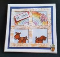 Hay There! cute animals and rainbow 6in square card