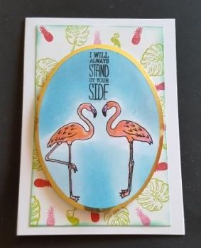 I'll always stand by you Flamingos C6 card
