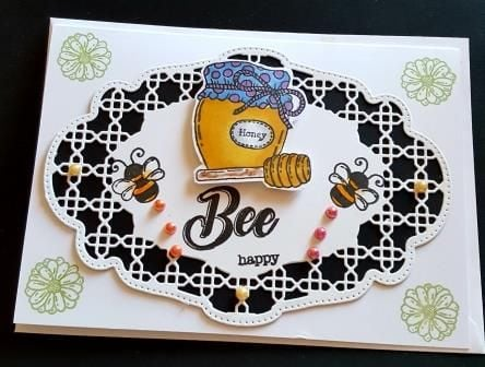 Bee Happy Bees and Honey on ornate background 7x5in card