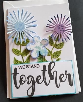 We Stand Together flowers in blue and purple C6 white card