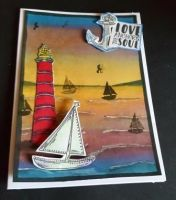Love anchors the soul - sea scene C6 white card