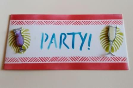 Party! Tropical leaves and cocktails DL landscape card
