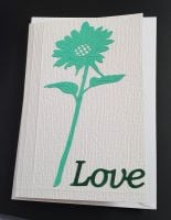 Love - single green flower on C6 white card