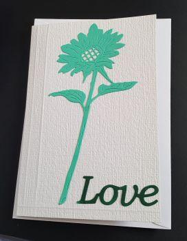 Love - single green flower on C6 white card