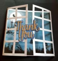 Thank you moonlight scene behind window card
