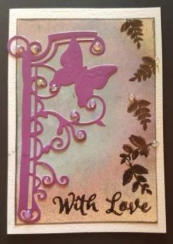 With Love butterfly and leaves C6 white card