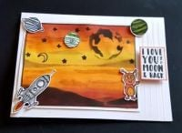I love you to the moon and back space themed 7x5in card