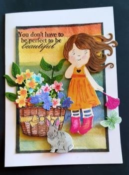 You don't have to be perfect - cute girl and flowers 7x5in card