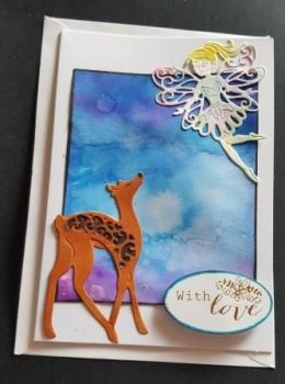 Fairy with fawn on hand coloured background C6 white card
