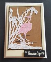 Flamingo in reeds on Kraft background on a cream Adorable Scorable C6 card